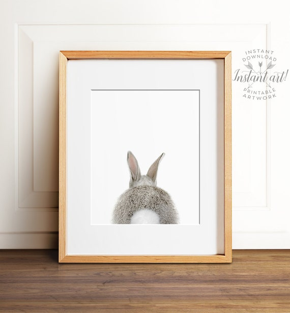 Rabbit print, Bunny butt, PRINTABLE art, Nursery wall decor, Woodland animals, Nursery art, Baby animal prints, Nursery animal art, Bunny