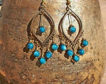 Beautiful bronze with blue bohemian earrings