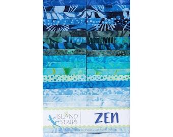 "Island Batik ""Zen"" Strip Set  40 - 2.5 inch strips - jelly roll- Island Strips- shades of blue  batik fabric, blue batik fabric."