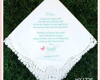 Mother of the Bride Handkerchiefs-Wedding Hankerchief-PRINTED-CUSTOMIZED-Wedding Gift for mother-Mother of the Bride Gif