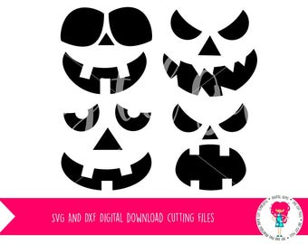 Pumpkin Face Fall / Autumn Halloween SVG / DXF Cutting files For Cricut Explore / Silhouette Cameo & PNG Clipart, Digital Download