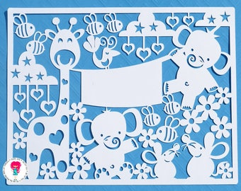 Elephant and Giraffe paper cut svg / dxf / eps / files and pdf / png printable templates for hand cutting. Digital download.