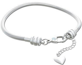Timeline Treasures Charm Bracelet For Women, Sterling Silver Snake Chain, Fits European Charms, Lobster Claw Clasp