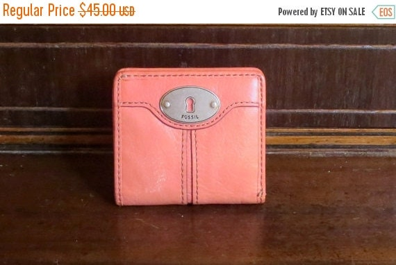 Football Days Sale Vintage Fossil Salmon Leather Fold Over Wallet With Coin Purse Currency Sleeve, Snap Closure And Silver Tone Hardware- VG