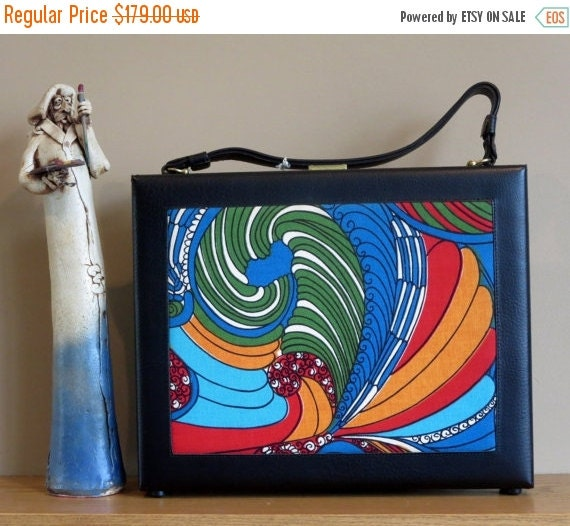 Football Days Sale Wear Your Love Like Heaven With This Unisex Psychedelicized Paisley Paneled Leather Trim Briefcase From The 60's- Unused-