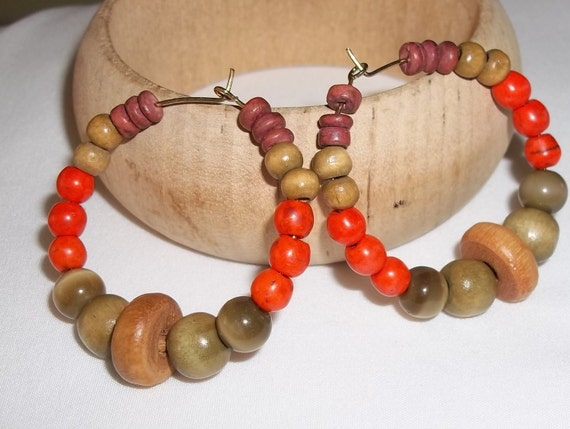 Autumn Colors Bohemian Beaded 40mm Gold Tone Hoops Hand Crafted by Kat's Kreations