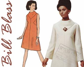 """1960s Mod Dress Pattern 1960s Designer Dress VOGUE AMERICANA 2055 UNCUT bust 31.5"""" Bill Blass Dress 1960s A-line Dress Funnel Neckline"""