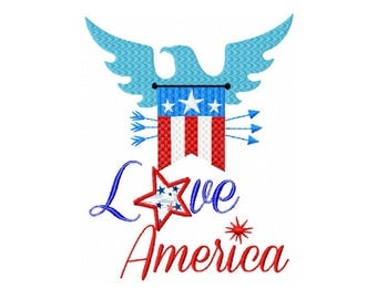 Eagle Embroidery Design - America Pride - 4th of July Embroidery Design - Love Embroidery Design - Love American Eagle Embroidery Design