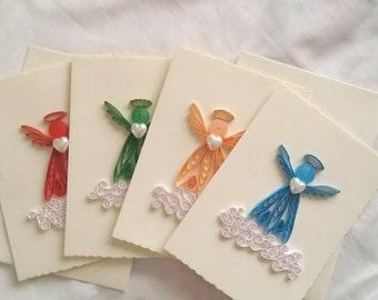 Quilled Angel Cards Set of 4, Quilling Angel, Quilled Card, Quilling Art, Paper Angel, Paper Card, Thank You Card, Valentine's Day Card