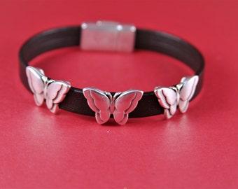 3/6 MADE IN EUROPE 2 zamak butterfly sliders, flat cord slider, 10mm flat cord sliders, silver butterfly sliders(8792-0077) Qty2
