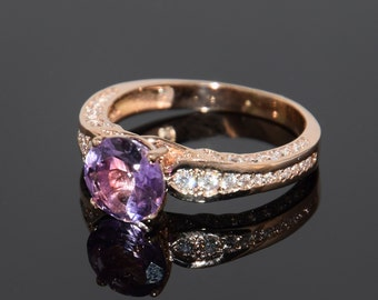 Amethyst ring, Statement ring, Halo ring, Unique ring, Modern ring, Women ring, Rose gold ring, Everyday ring, Gemstone ring Birthstone ring