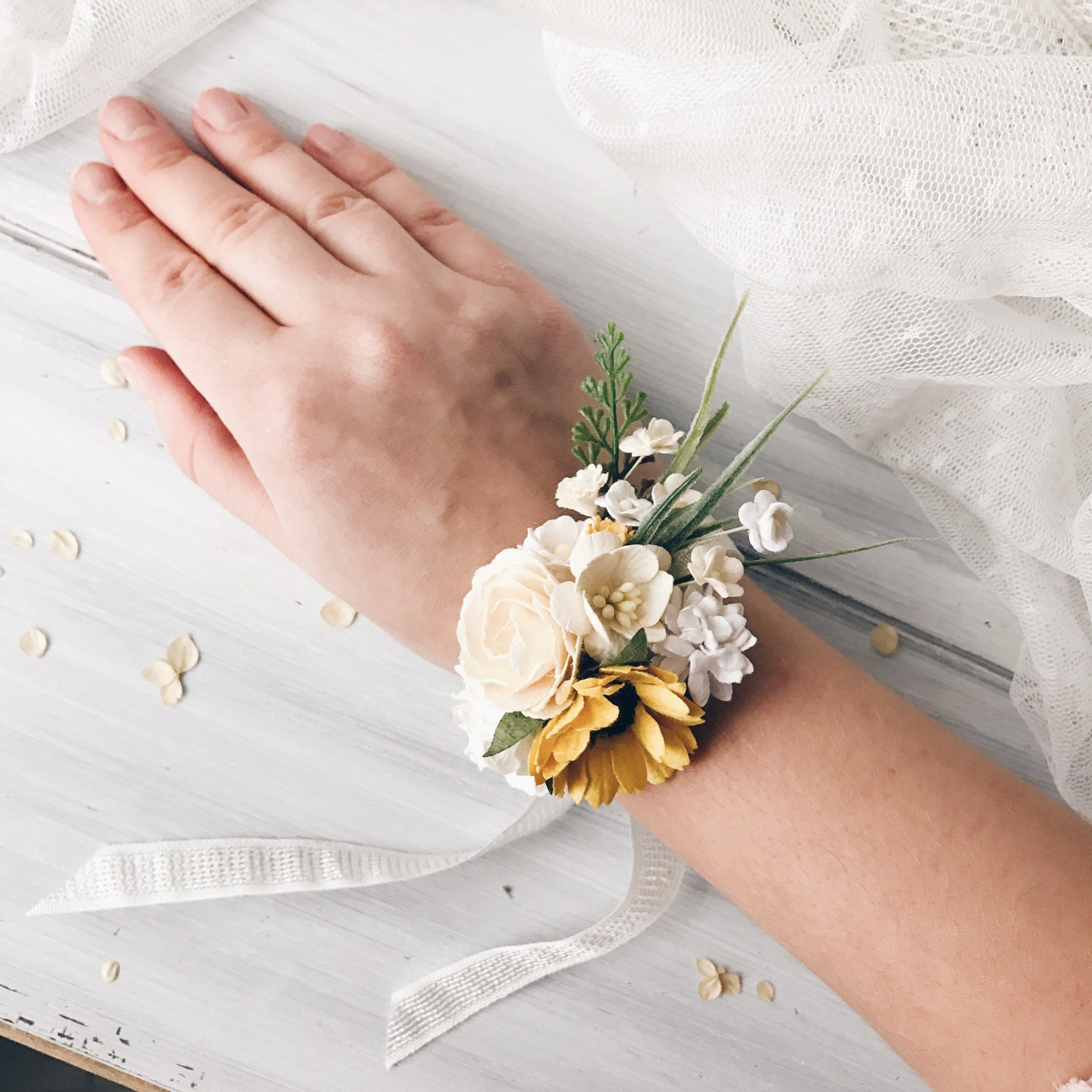 Wrist Corsages Wedding: Flower Wrist Corsage Sunflowers Bridesmaids Wrist Corsage