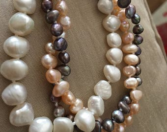 3 different colors and size pearls pink grey and white