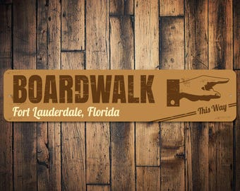 Boardwalk Direction Sign, Pointing Hand Sign, Custom Boardwalk Sign, Boardwalk Decor, Boardwalk Gift, Beach Sign -Quality Aluminum ENS100062