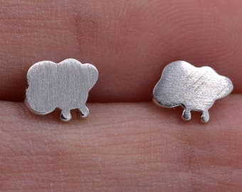 Sterling Silver Little Cloud and Raindrops Stud Earrings Textured Finish  Y5