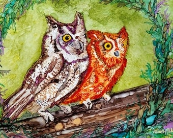 Alcohol ink painting, owl painting, ink art, alcohol inks