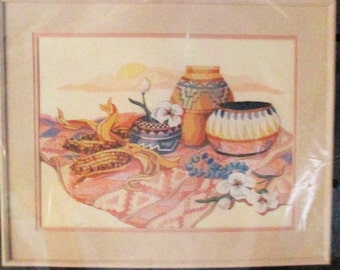 1988 Dimensions Crewel  Embroidery Kit Santa Fe Still  Life Linda Gillum 16 X 12