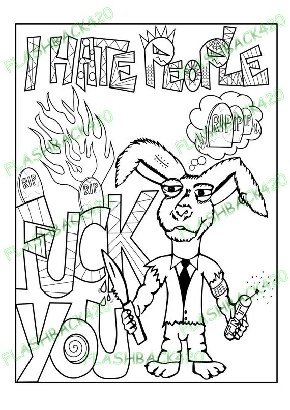 Printable Coloring Page for Adults Gift for Stoner Fight