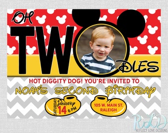 Mickey Mouse 2nd Birthday Party Invitation with Photo