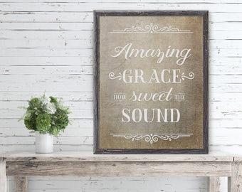 Amazing Grace Print - Amazing Grace - Scripture Wall Art - Digital Print - Wall Art - Hymn Art - Christian Wall Art - Printable Art