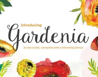 Gardenia Script Commercial Font + Blooming Floral Bonus