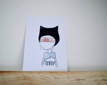 Just soft print, digital illustration, 5 x 7 in