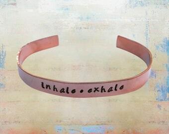 "Inhale Exhale Bracelet Hand Stamped Mantra Yoga Inspirational Jewelry 1/4"" copper …"