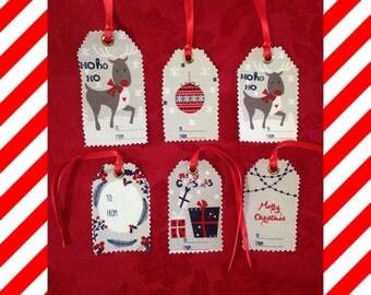 Fabric Xmas Gift Tags - Set of 6