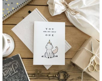 UNICORN // unicorn gift, funny love card, card for wife, anniversary card, valentines day card, funny valentines day card, funny card, punny