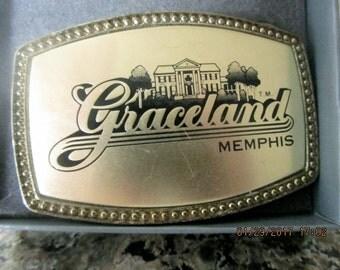 Graceland Memphis Elvis Presley belt buckle gold tone in original box vintage