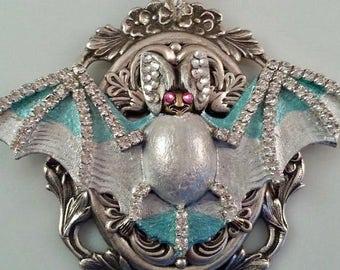 Silver Bat Necklace | Bat Necklace | Crystal Bat Necklace | Gothic Necklace | Dawn Santucci | Popskullpture