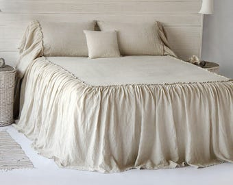NEW Linen Coverlet Bedspread Ruffled Dust Stone Washed Super Soft 100% European Flax Natural Organic - 2017 Silky Stone Village COLLECTION!