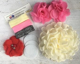 Diy headband kits, baby headband kit, baby shower kit, craft kit, flower headband kit