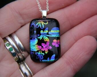 Flower dichroic glass  pendant 2, dichroic glass necklace, flower fused necklace, dichroic jewelry, flower dichroic pendant, fused glass