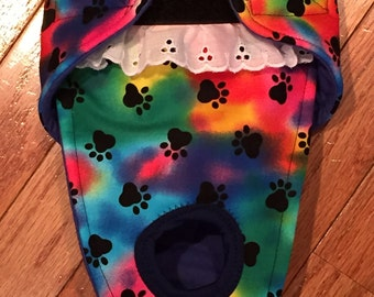 Female Dog Diaper, Panties, dog Britches, nappies.  Washable Heat Cycle, Incontinence - Tie Dye Paws  - by angelpuppi