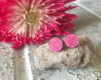 Watermelon Pink Gold Druzy Studs, 12mm druzy pink, gold earrings, druzy earrings, pink druzy, druzy jewelry, gold jewelry, circle studs