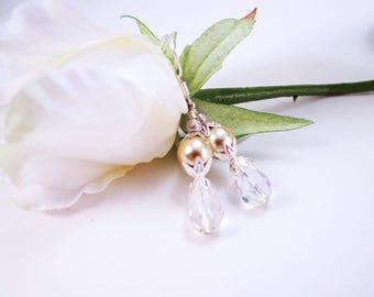 Light gold pearl and crystal earrings, Pearl and crystal earrings, Romantic gold pearl and crystal earrings, Elegant pearl & crystal earring