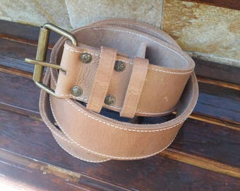 Handmade Genuine Leather belt, jacketed belt, Solid Brass Buckle, Brown Mens Belt,Natural Leather