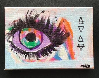 Vibrant Boho Eye Art, Protective Eye Art, Evil Eye Decor Protective Eye Art, Chic Eye Art, Mini Chic Wall Decor, Small Evil Eye Art Chic Art