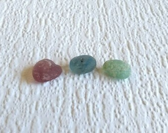 Trio of pastel bonfire glass Seaham seaglass- large genuine English sea glass multi