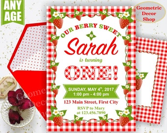 Strawberry Birthday Invite Strawberry Invites Berry Sweet Invitations Girl First Invitation One Red Plaid Rustic Photo Photograph BDS5