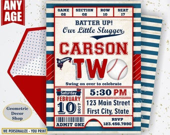 Second Birthday invitation Vintage Baseball Sports Invite 2nd All star invitations One Ball red blue invites photo photograph ticket BDSP18