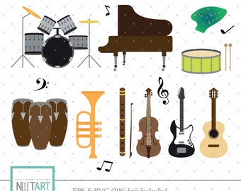 Instruments clipart, music clipart, musical instrument clipart ,Vector graphics, Digital Images