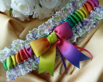 WEDDING GARTER rainbow satin and lace garter bow commitment ceremony white pink green yellow blue multi coloured