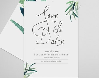 Leaves Save the Date Printable, Ethereal, Save the Date Invitation, Wedding Invite, Engagement Announcement, Engagement Invitation