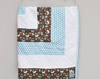 Blue & White Patchwork Cot Quilt, Baby Blanket, Toddler Quilt, Screenprinted Organic Cotton, Organic Cotton Jersey, Eco-friendly Scree