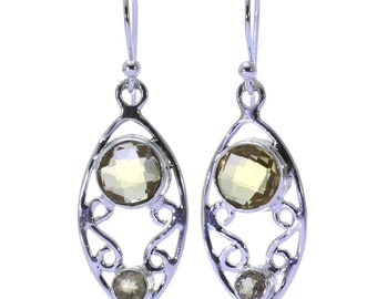 Lemon Quartz Earrings, 925 Sterling Silver, Unique only 1 piece available! color yellow, weight 4.3g, #34646