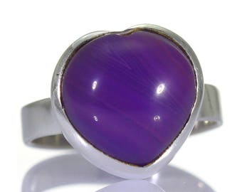 Purple Agate Ring, 925 Sterling Silver, Unique only 1 piece available! SIZE 5.75 (inner diameter 16.33mm), color purple, weight 3.9g, #39