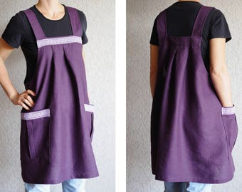 gift|for|her Natural Linen Overalls Linen Apron Dress Tunic Linen Apron Japanese Apron Full apron Womens Aprons gift for wife Pinafore apron
