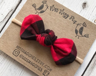 Red & Black Buffalo Plaid · Knotted Hair Bow / Knot on Nylon / Knotted Bow / Knotted Headband / Baby Headband / Knotted Hair Clip